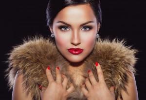 pretty girl wearing fur collar