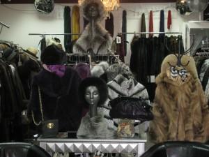 display of fur coats