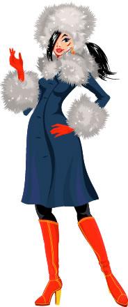 girl on fur-trimmed coat and fur hat