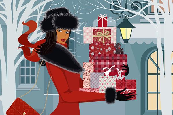 Woman bringing fur gifts